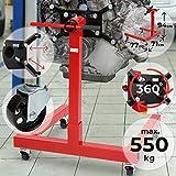 TIMBERTECH Support Moteur - Jusqu'à 550 kg, Plaque de Montage Rotative à 360 °, Construction Robuste, sur roulettes, en Acier, Rouge - Atelier, Levage Moteur Moteur, Pied de Support