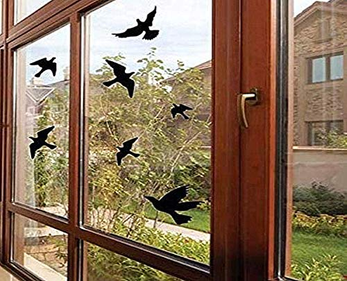Anti-Collision Window Alert Bird Stickers Silhouettes Glass Door Protection and Save Birds, Black (12 Silhouettes)