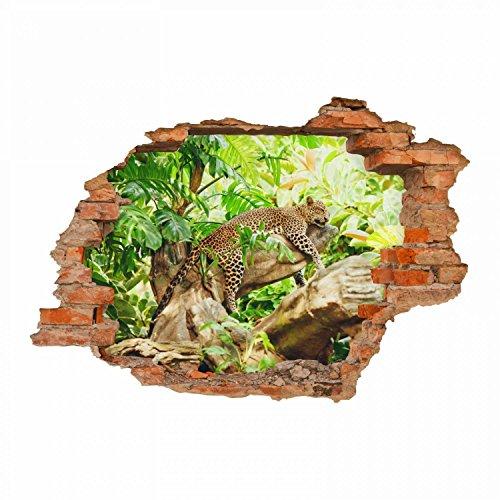 nikima - 092 Wandtattoo Leopard Baum Dschungel grün - Loch in der Wand - in 6 Größen - wunderschöne Kinderzimmer Sticker und Aufkleber Bezaubernde Wanddeko Wandbild Junge Mädchen Größe 750 x 520 mm