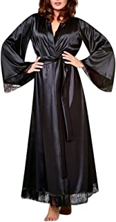 Sunbona Bralette Women's Sexy Long Sleepwear Ladies Silk Kimono Dressing Gown Bath Robe Babydoll Lingerie Nightdress