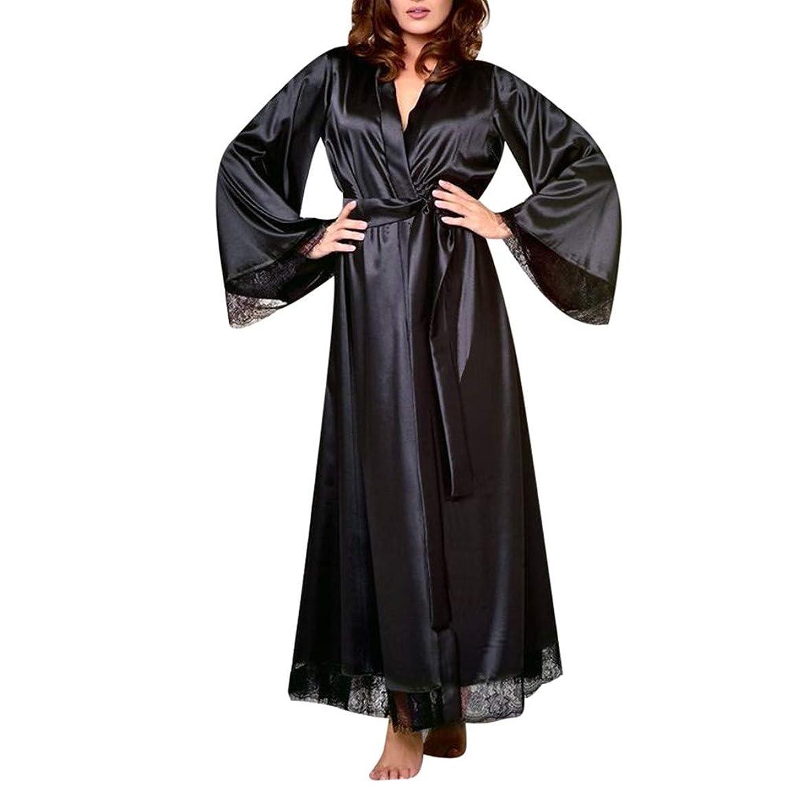 Women Sexy Long Silk Kimono Robe Oblique V-Neck Elegant Nightgown Bathrobe Babydoll Lingerie Nightdress