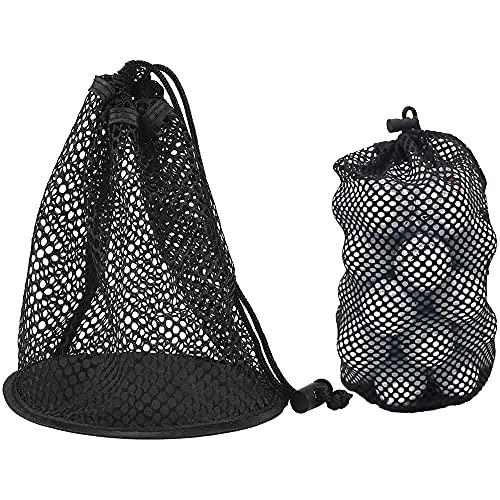 2 Pieces Golf Ball Storage Nets, Nylon Mesh Drawstring Pouch, Storage Practice Golf Ball Bag, Tennis...