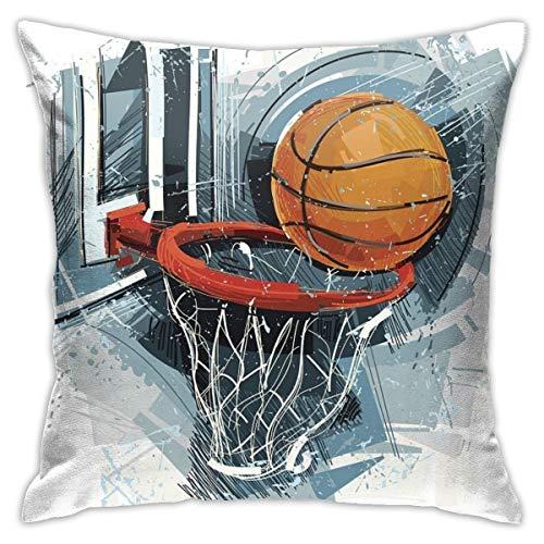 iksrgfvb Throw Pillow Cojín, la Imagen Muestra una Pelota de Baloncesto en un Arte incompleto; Vectorimage con Solo una Capa, sofá, Dormitorio, Oficina, decoración, Funda de Almohada, Multi 45X45CM