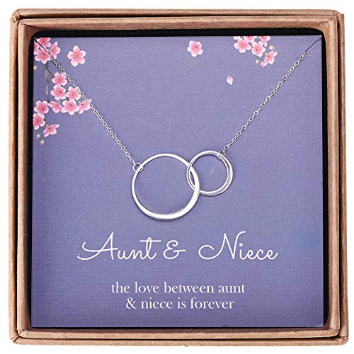 Aunt and Niece Gifts - Sterling Silver Two Interlocking Infinity Double Circles Aunt Niece Necklace Jewelry - Gifts for Aunts from Niece, Niece from Aunt Birthday with Message Card & Gift Box