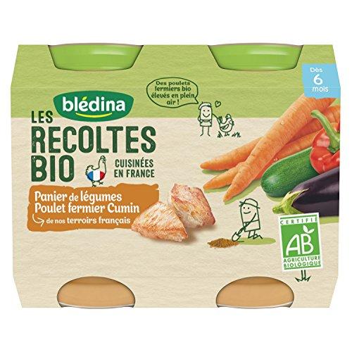 Blédina - Biologique - Panier de Légumes Poulet Cumin Repas Viandes/Poissons 2,40 kg - Pack de 6