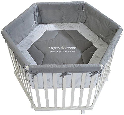 roba Laufgitter 'Rock Star Baby', Laufstall 6-eckig, sicheres Spielgitter inkl. Schutzeinlage & Rollen, Baby Krabbelgitter, Holz weiß