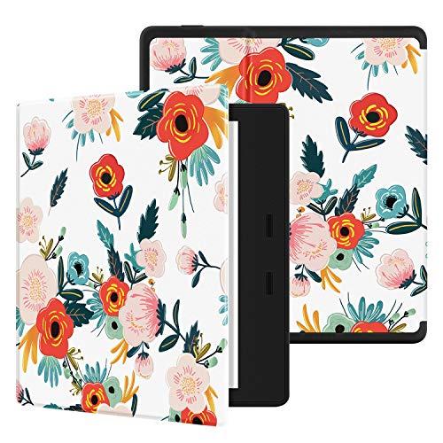 Ayotu Etui Coloré pour Kindle Oasis - (9ème et 10ème génération, modèle 2017/2019) Étui Souple en nid d'abeille imperméable avec Fonction Veille/Réveil Automatique,KO-Flowers