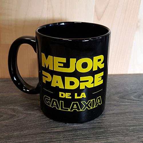 Dr.Troll Taza mug Desayuno Modelo Mejor Padre de la Galaxia, 33 cl. de cerámica Negra