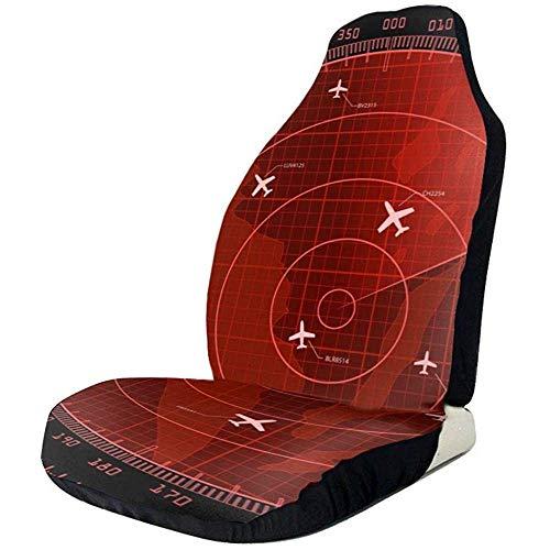 Rode Radar Scherm Met Vliegtuigen Grappige Grafische Zwarte Voorstoel Covers Protector