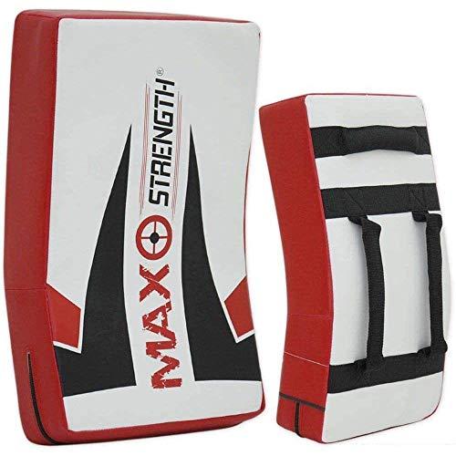 MAXSTRENGTH Bouclier de frappe en gel pour entraînement de kickboxing, muay thaï incurvé, bouclier du corps de frappe, idéal pour MMA, arts martiaux, entraînement de karaté (imprimé max simple)