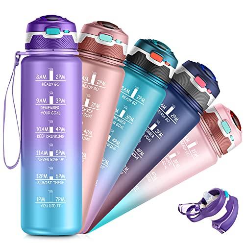32oz Water Bottle with Time Marker & Straw, Dishwasher Safe, Leakproof, Safety Lock, No BPA,...