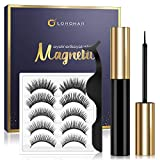 Magnetic Eyelashes and Eyeliner Kit, Upgraded 3D Magnetic Eyelashes with Eyeliner Natural Look, 5 Pairs Reusable False Magnetic Lashes and Liner Comes With Applicator