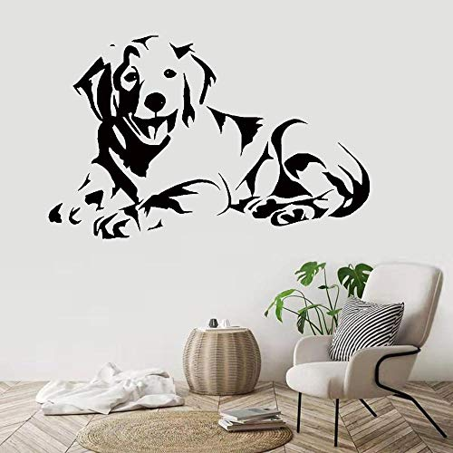 Wall Stickers Murals,Labrador Dog Wall Decal,Cute Puppy Golden Dog Lying Down Picture Wall Mural,Living Room Sofa Background Vinyl Wall Sticker 132X84Cm,Wall Stickers For Bedrooms Wall Mural