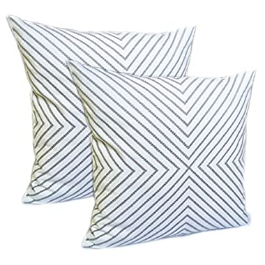 2 Pack FanHomcy Throw Pillows Cushion Covers Embroidered Cotton Accent Decorative for Couch 18 x 18 Inch,Grey Stripe