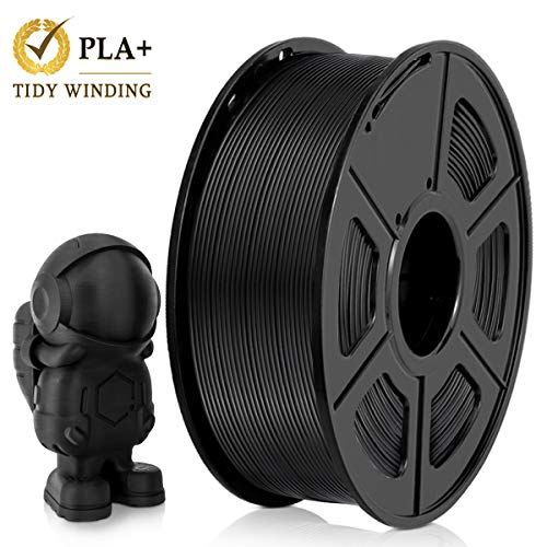 PLA Plus Filamento 1,75 mm,1KG,Bobinado Ordenado Actualizado, Sin bobinado, Sin enredos, PLA+ Negro