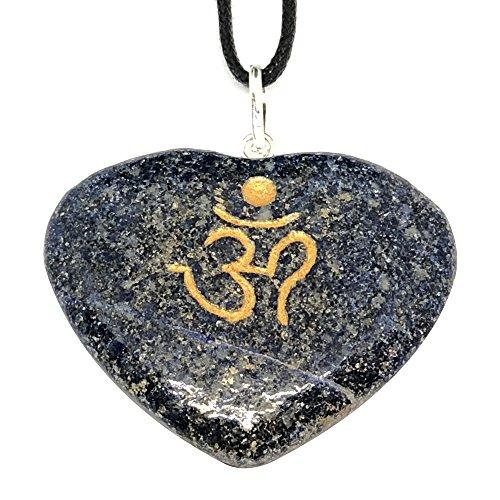 Artisan Crafted OM inciso cuore pendente–Collana eticamente gioielli in pietra naturale fatta a mano dall' India inviati in retail Gift Box (lapislazzuli)