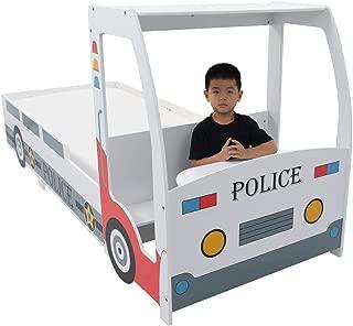 FESTNIGHT Cama Infantil con Forma de Coche de Policía y Escritorio para Niños, Muebles para Dormitorio de Niños, 90x200 cm