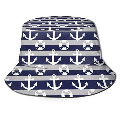 Bucket Hat Packable Reversible Ship An-chor Lifesaving Ring Print Sombrero para el Sol Gorras de Pescador para Hombres Mujeres Negro
