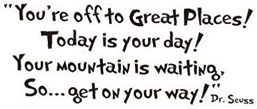 Wall Sticker Dr seuss You're off to great places Wall Vinyl Sticker Decals Quote Saying Decor Art Bedroom Design Mural for Bedroom Living Room