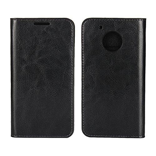 Copmob Cover Motorola Moto G5 Plus,Premium Flip Portafoglio Custodia in Pelle,[Supporto Stand][3 Slot per schede][TPU Morbido Antiurto],Custodia per Motorola Moto G5 Plus - Nero