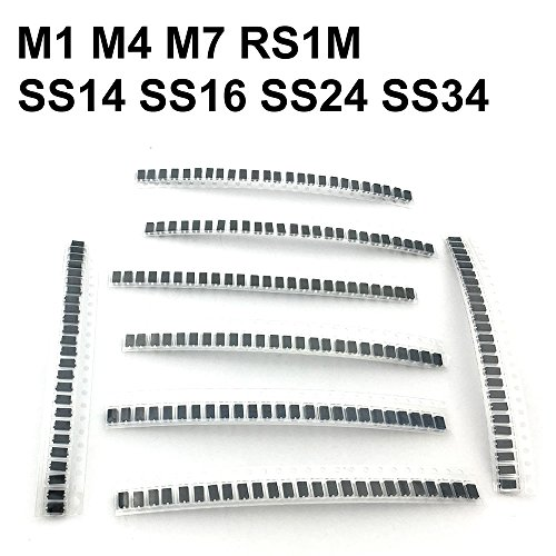 McIgIcM Diode Assorted Kit , M1 M4 M7 SS14 SS16 SS24 SS34 RS1M 8values=200pcs,Electronic Components Diode Assortment