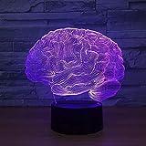 Luz nocturna para niños, 3D, con forma de cerebro, lámpara de ilusión 3D, con 7 cambios de color, interruptor táctil, LED 3D, lámpara de escritorio, lámpara de ambiente, regalo para niños