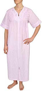 Miss Elaine Women's Long Seersucker Zipper Robe with Short Sleeves, Embroidery, and Smocking. Two Inset Side Pockets