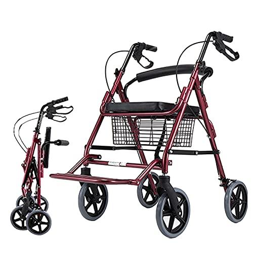 Rollatoren für Senioren Heavy Duty, mit Sitz & Korb & Bremse & Fußstütze & 8-Zoll-Rädern, Höhenverstellbare Faltbare Rollatoren, Dunkelrot