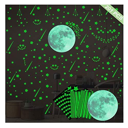 LiKin Estrellas Fluorescentes para Techo,176 Piezas Luminosas Pegatina Luna Y Estrellas para Techo Chico Niña Bebé