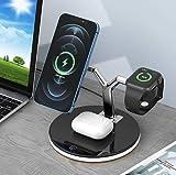 Wireless Charger 3 in 1, Ständer für MagSafe, Apple Ladestation für iPhone 13/12/Pro/Max/Mini, 5W für AirPods Pro/2,Magsafe Ladestation (QC 3.0 Adapter enthalten) (Black)