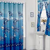 Aqua Blue Design Shower Curtain Drapes and Window Set w/ Liner+Rings NEW