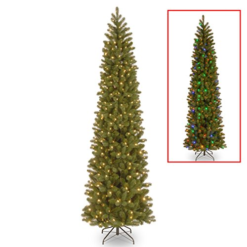 National Tree Company 'Feel Real' Pre-lit Artificial Christmas Tree | Includes Pre-strung Multi-Color LED Lights and Stand | Downswept Douglas Fir Pencil Slim - 7.5 ft