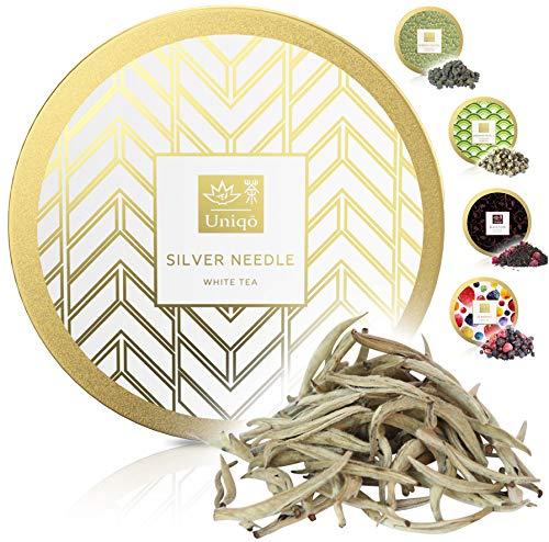 Tea Uniqo® Silver Needle - weißer Tee - Yin Zhen - zarte Aromen für Teegenuss vom Feinsten | Weisser loser Tee ohne Zusatzstoffen in edler Geschenkdose (Weißtee - Silbernadel)