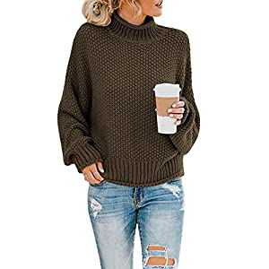 Saodimallsu Womens Turtleneck Oversized Sweaters Batwing Long Sleeve Pullover Loose Chunky...