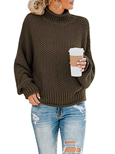 Saodimallsu Womens Turtleneck Oversized Sweaters Batwing Long Sleeve Pullover Loose Chunky Knit Jumper (Medium, Army Green)