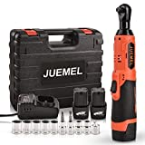 16.8V Cordless Electric Ratchet Wrench Set, JUEMEL 3/8' Power Ratchet Wrench 46 N·m 400 RPM Variable Speed w/ 2-Pack 2.0Ah Li-Ion Batteries, Fast Charger, 7 Sockets, 2 Screwdrivers and 1/4' Adapter