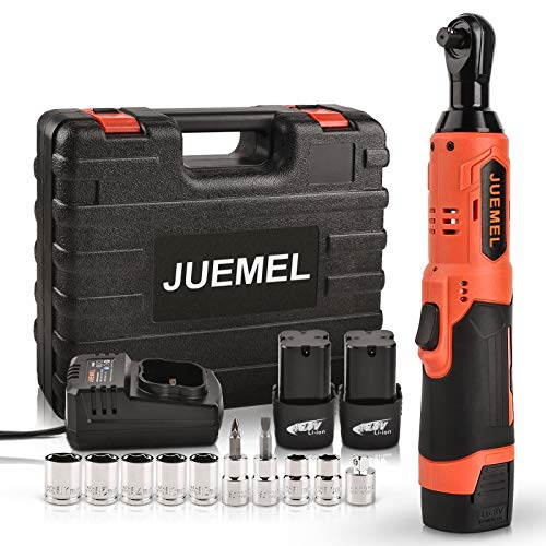 "16.8V Cordless Electric Ratchet Wrench Set, JUEMEL 3/8"" Power Ratchet Wrench 46 N·m 400 RPM Variable Speed w/ 2-Pack 2.0Ah Li-Ion Batteries, Fast Charger, 7 Sockets, 2 Screwdrivers and 1/4"" Adapter"