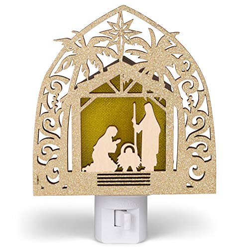 Roman 133684 Nativity Night Light Laser Cut led Bulb Swivel Plug, 5.7 inch, Multicolor