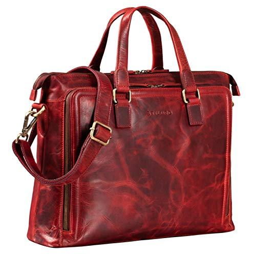 STILORD 'Claire' Businesstasche Damen Leder 15 Zoll Laptoptasche DIN A4 Aktentasche Umhängetasche und Handtasche Büro, Farbe:Kara - rot