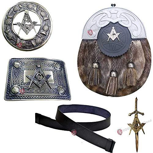 Men's Scottish Full Dress Leather Kilt Sporran Seal Skin Belt & Buckle,Brooch,Kilt Pin (Masonic, Medium 32 to 36'')