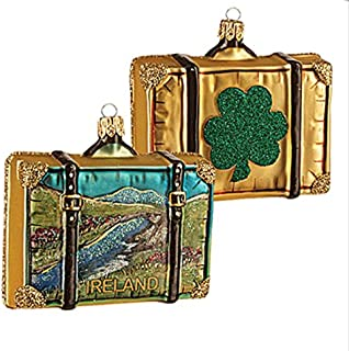 Ireland Suitcase Shamrock Polish Glass Christmas Ornament Travel Souvenir Decoration