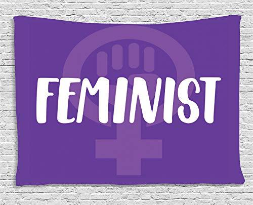 ABAKUHAUS Feminista Tapiz de Pared, Las Mujeres De Venus del Símbolo, para el Dormitorio Apto Lavadora y Secadora Estampado Digital, 200 x 150 cm, Violeta Blanco Y Púrpura