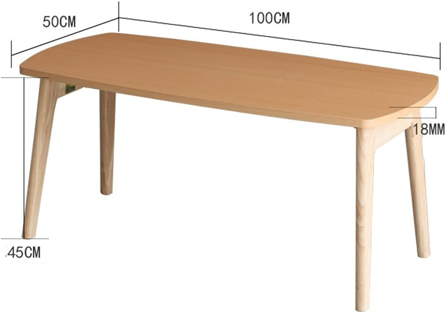 Solid Wood Foldable Rectangle Sofa Table, Living Room Side Table Coffee Table Bedroom Night Table Telephone Table-Log L100xW50xH45cm