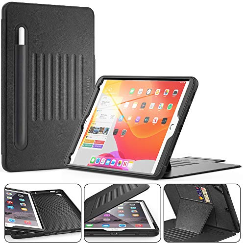 Timecity Case Compatible for iPad 6th/5th Generation,Rugged Shockproof Heavy Duty Protective Cover for iPad 9.7 Inch, Magnetic Smart Cover Auto Wake/Sleep with Stand, Pencil and Card Holder, Black