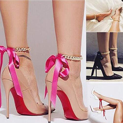 Cavigliera da donna, dorata, 8 pezzi, con tacco a spillo, con nastri di seta, ad arco, nodi, collana, collare, estivo, per donne e ragazze
