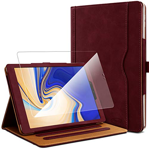KARYLAX Pack of Burgundy Protective Case + 1 Tempered Glass Screen Protector for Samsung Galaxy Tab S4 10.5 SM-T830
