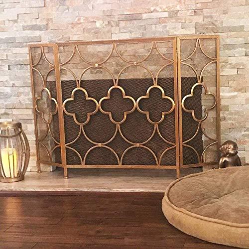 Review OUPAI Fireplace Screen 3 Panle Fireplace Screen Spark Guard Cover Gold Fireplace Screen Baby ...