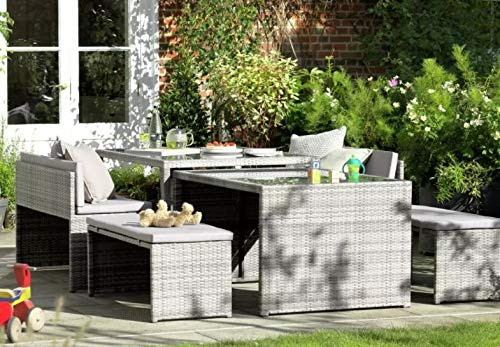 GSD Rattan Space Saving Garden Furniture Set, 6 Piece, Fully Assembled,...