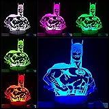 Luminaria Masque de Batman, illusion d'optique 3D avec ampoule RGB - 7 couleurs