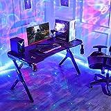 SEDETA R-förmiger Gaming Tisch, Gaming Schreibtisch, Gaming Computertischmit LED Beleuchtung, PC Gaming Gamer Tisch mit Mauspad, Getränkehalter und Kopfhörerhalter, 122 * 60 cm Schwarz - 8